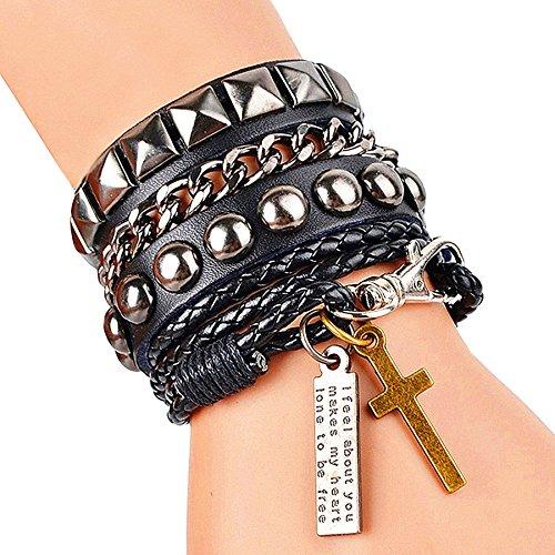 Cool moda Punk pelle Street Rock bracciale multistrato 8colori, base metal, colore: Black, cod. SRUK0309