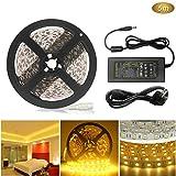 AveyLum LED Streifen Warmweiß 5m 5050 SMD 300 LEDs LED Lichtleiste 16.4ft mit DC 12V 6A Netzteil für Haus Küche Weihnachtsfest Hochzeit Schaufenster Dekoration [Energieklasse A+]