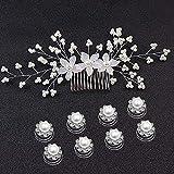 Czemo 9 Stück Perlen Haarspiralen Haarnadeln Silber Haarkamm Haarschmuck Strass Blumen Kristall Haar Stifte Clips Hochzeit Haarkamm