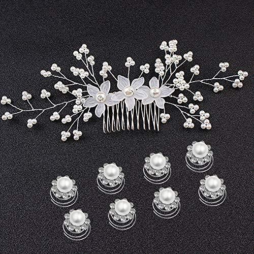 Czemo 9 pezzi Forcine per Capelli Perle Sposa Forcine Fermagli per Capelli con Strass Cristalli Perni di Capelli Nuziali