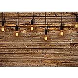 Vlies Fototapete PREMIUM PLUS Wand Foto Tapete Wand Bild Vliestapete - Holzwand Holz Wand Leisten Bretter Glühbirnen Licht - no. 1281, Größe:368x254cm Vlies