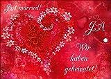 55 edle Ballonflugkarten für Hochzeit / Luftballon Postkarten mit rotem Herz von EDITION COLIBRI - umweltfreundlich, da klimaneutral gedruckt