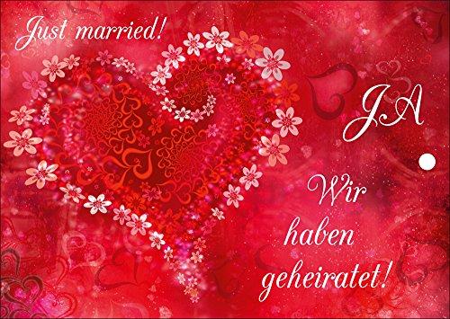 55 edle Ballonflugkarten für Hochzeit/Luftballon Postkarten mit rotem Herz von EDITION COLIBRI - umweltfreundlich, da klimaneutral gedruckt