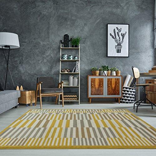 Tradicional alfombra Milán para sala de estar con diseños geométricos modernos en colores ocre amarillo mostaza y beige grisaceo 120cm x 170cm