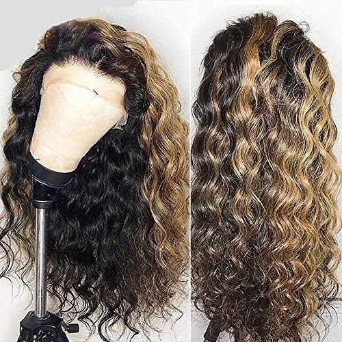 BT-WIG 9A Human Hair 13 * 6 Lace Front Wigs Curly Wave Unprocessed Virgin Hair Wigs Brazilian Hair 180% Denisity for Women Natural Black with Adjustable Straps 22inch - Blonde Natural