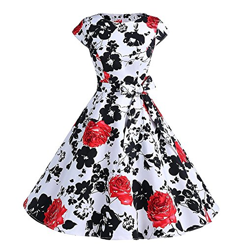 YAMEE Damen Kleider Audrey Hepburn 50s Retro Vintage Bubble Skirt Rockabilly Swing Evening Ballkleid Partykleid Cocktailkleid Knielang (XL, Rot)
