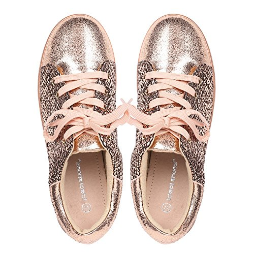 Ideal Shoes – Sneaker perlati e effetto rettile Kelvina Champagne
