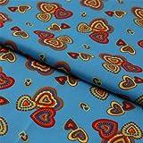Hans-Textil-Shop Stoff Meterware Bunte Herzen Türkis