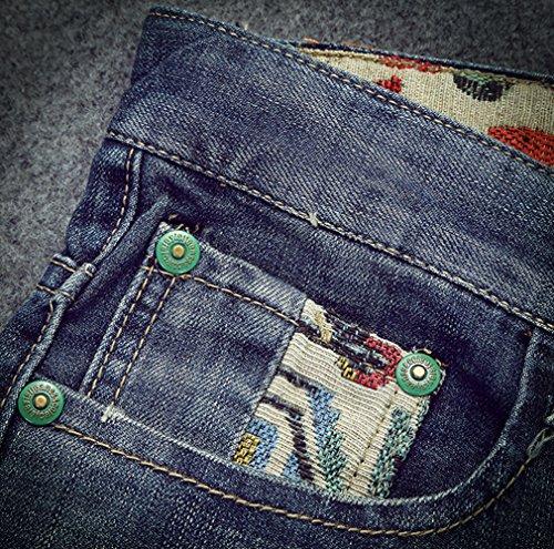 insun Herren Fashion Print Hip Hop Zerrissene gerade Passform Denim Jeans Blue 8681