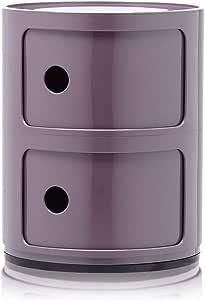 Kartell Componibili Contenitore 2 Elementi, Base Tonda, ABS, Viola, 32 x 32 x 40 cm