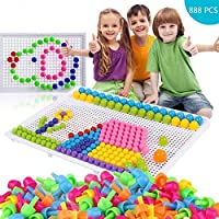 888 PCS Mushroom Nails Jigsaw Puzzle Board Mosaic Toys Pegboard Educational Intelligence Building Blocks Puzzle Toys Assorted Colour Creative DIY Christmas Birthday Gift for Kids 3-7 Years Old