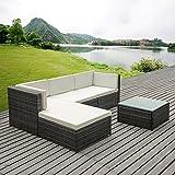 iKayaa Set Mueble de Jardín de Poli Ratán Conjunto de Muebles con Cojines para Patio Color Opcional