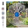 QILICZ Edelstahl Windspiel,3 stück Rostfreiem Lamellen mit Glasperle + Crystal Twister + Windspiele Batteriemotor für Garten, Innen order draußen zum Aufhängen von QILICZ bei Du und dein Garten