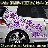 66-teiliges HIBISKUS BLÜTEN HAWAII BLUMEN SCHMETTERLINGE Auto Aufkleber Set - SB_001 (070 schwarz)