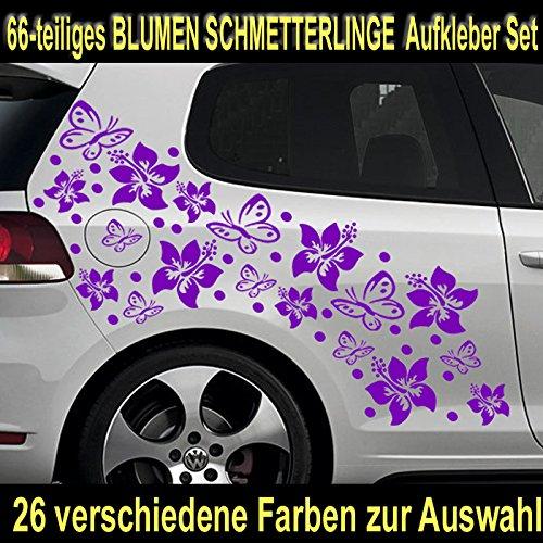 66-teiliges HIBISKUS BLÃœTEN HAWAII BLUMEN SCHMETTERLINGE Auto Aufkleber Set - SB_001 (070 schwarz)