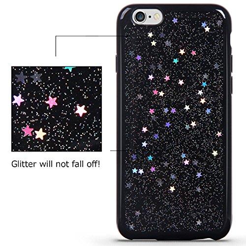 iPhone 7 Plus Hülle, Imikoko Bling Bling Glitzer Star Schwarz Weich Soft Silikon TPU Handyhülle Schutzhülle Tasche Case Cover für Apple iPhone 7 Plus Schwarz