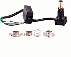 Autofy Metal Universal H4 M4 CYT LED Headlight Bulb Ultra Bright Light SMD CREE for All Bikes Motorcycle with Fan Technology (20W - 12V) (Black)