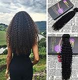 Moresoo 20Pollice/50cm Capelli Umani Remy Brasiliani Vergini Tessitura Ricci/Kinky Curly Nero Naturale #1B 100% Afro Capelli Umani Tessitura Estensioni Remy Human Hair Bundles 100gr