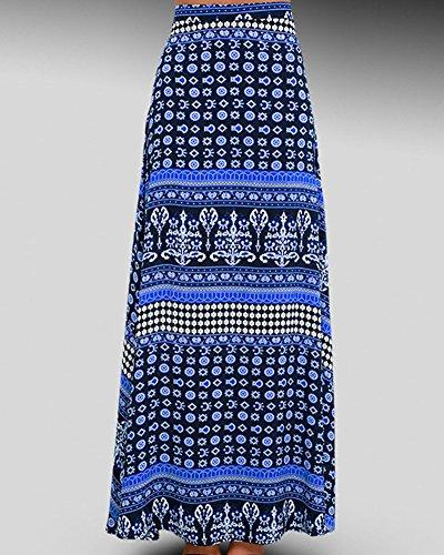 Maxi Jupe Femmes Boho Halter Cou Robe Longue de Soirée Robe de Plage Bleu
