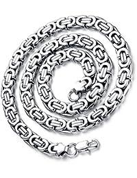 Flongo 9mm Breit Edelstahl Halskette Königskette Kette Gold Silber 57cm Herrschsüchtig Rau Punk Rock Herren