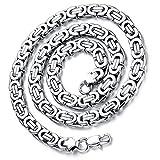 Flongo Herrenkette Königskette Silber, 9mm Breit Edelstahl Halskette 57cm Herrschsüchtig Rau Punk Rock Ketten für Herren Männer