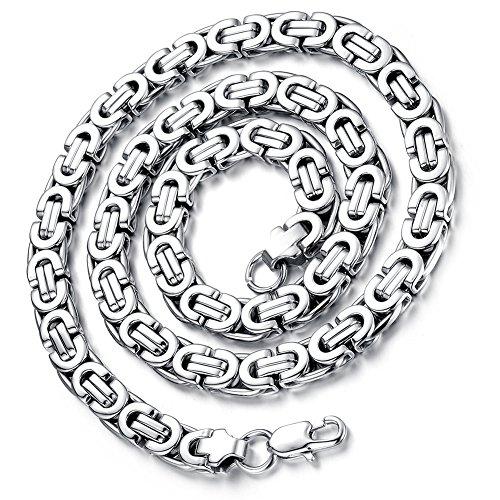 Flongo Herrenkette Königskette Männer Kette Silber, 9mm Breit Edelstahl Halskette 57cm Herrschsüchtig Rau Punk Rock Ketten für Herren Männer
