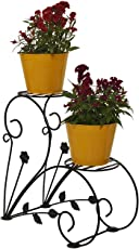 Green Gardenia Iron 2 Plant Stand/Pot Stand-Black