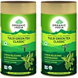 Organic India Tulsi Green Tea 100g Tin (Pack Of 2)