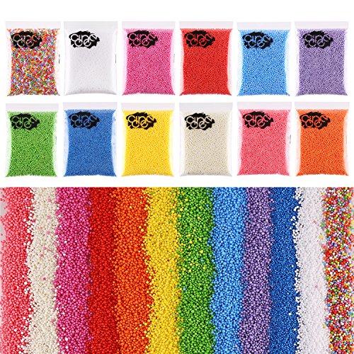 CCINEE - 12confezioni di perline di gommapiuma per slime, 240000 unità da 2mm-3mm, perline a pallina colorate in polistirolo espanso