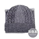 FQG*Cappelli e Marea Inverno Suite Elegante Tappo di Testa di Equitazione Esterna Un Kit bussato Cuciture Colore Maglia Hat, Grigio