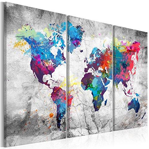 murando - Bilder 135x90 cm - Leinwandbilder - Fertig Aufgespannt - Vlies Leinwand – 3 Teilig - Wandbilder XXL - Kunstdrucke - Wandbild - Weltkarte Welt Karte Kontinent Landkarte k-A-0179-b-h
