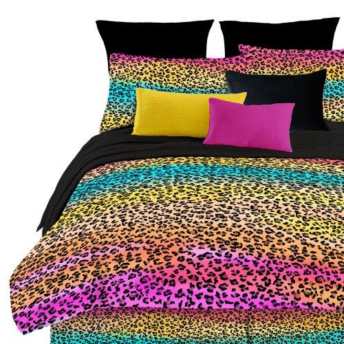 veratex Street Revival 100% Polyester 3-teiliges Kinder Regenbogen Leopard Tröster Set, Twin Size, Multi Farbe