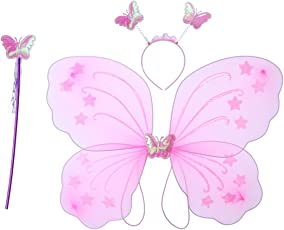 3pcs Girl's Butterfly Costume Set Butterfly Wings with Butterfly Headband and Fairy Magic Wand Kids Performance Party Costume (Pink)