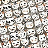 0,5m Jersey Katzen ME OW! Grau-Weiß 5% Elasthan 95%