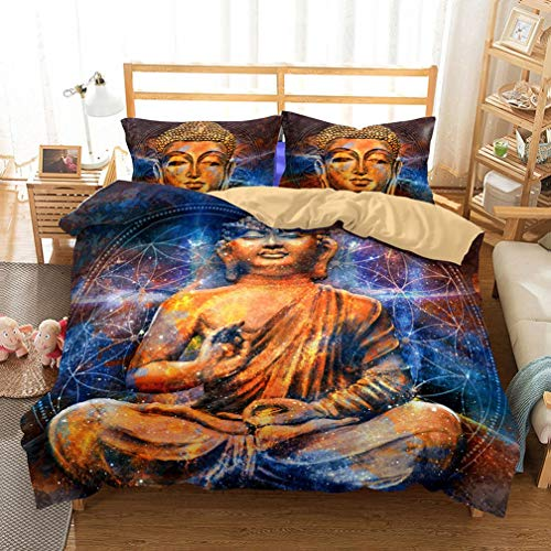 Soefipok Sets de Ropa de Cama de Microfibra con Estampado de Buda Azul para Adultos, 2018 Mujer Hombre Funda nórdica 3 Piezas 1 Funda nórdica 2 Fundas de Almohada Cierre de Cremallera, Ligero