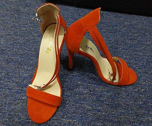 wealsex Sandales Escarpins Suédé Bride Cheville Boucle Bout Ouvert Talons Aiguilles Femme Orange