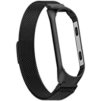 Epaal® Milanese Stainless Steel Magnetic Strap for Xiaomi Mi Band 4 / Mi Band 3 Loop Mesh (Black)
