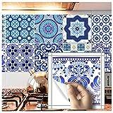 HyFanStr 10Pcs im marokkanischen Stil Fliesen Sticker Duett Abziehen & Aufkleben Küche Fliesen Aufkleber, 20,3x 20,3cm. Moroccan Style-2