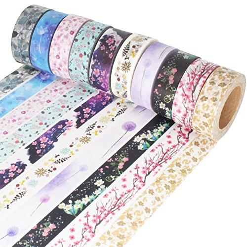 Muster Washi Masking Tape Collection, Set aus 10 Rollen für Scrapbooking Kunst Handwerk Büro Party Supplies und Geschenkverpackung (Kraft Paper Roll)