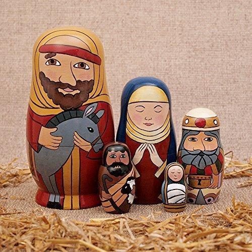 Bits and Pieces 5Pc Puppe Heilige Familie -Die Geburt Familie handgemalte Hand aus Holz Nesting Dolls Matroschka Krippenfiguren Set 5 Puppen von 5,5