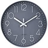 30cm Modern Quartz Lautlos Wanduhr Schleichende Sekunde ohne Ticken Analoge Wanduhr ( Grau )