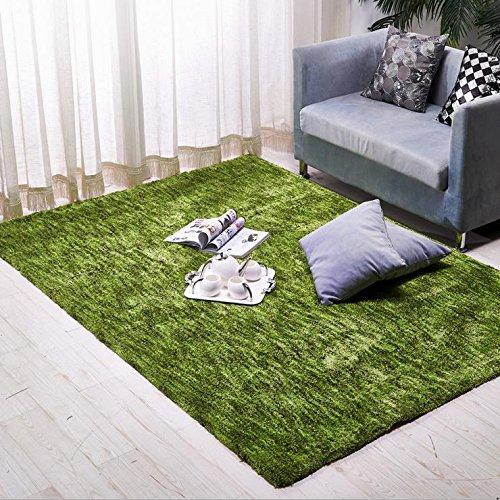 KOOCO Moderne gefärbt Teppiche für Wohnzimmer, Zuhause Schlafzimmer Teppich und Teppiche Couchtisch Bereich Teppich-Raum-Thicken-Matte, Polyester, grün, 1400mm x 2000mm