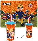 alles-meine.de GmbH Set _  Feuerwehrmann Sam Jones  - incl. Name - Platzdeckchen & Trinkbecher / Trinkflasche - mit Strohhalm & Deckel - 450 ml - durchsichtig & transparent - f..