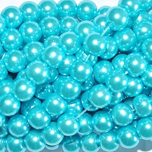150+ PC perline in vetro, rotonda, 6mm, Vetro, blue, 6 mm
