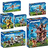 PLAYMOBIL® Knights 6er Set 9340 9341 9342 9343 9344 9345 Mobile Zwergenfestung + Ponygespann mit Zwergenballiste + Zwergenflugmaschine + Riesentroll mit Zwergenrucksack + Zwergenkönig + Zwerg und Pony mit Rüstung
