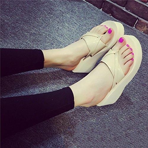 PENGFEI sandali delle donne Flip-flops estivi Pantofole femminili da spiaggia Flip flop antiscivolo Pendenza con pantofole fredde Confortevole e traspirante ( Colore : Viola , dimensioni : EU37/UK4.5- Beige