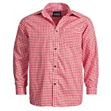 Trachtenhemd für Trachten Lederhosen Freizeit Hemd rot-kariert M
