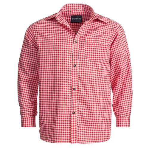 Trachtenhemd für Trachten Lederhosen Freizeit Hemd rot-kariert XL