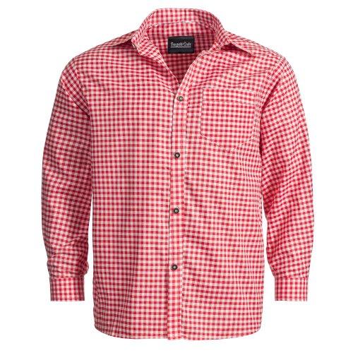 Bongossi-Trade Bongossi-Trade Trachtenhemd für Trachten Lederhosen Freizeit Hemd rot-kariert S