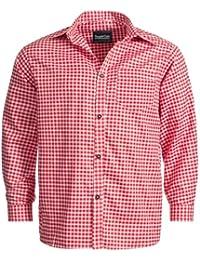 Trachtenhemd für Trachten Lederhosen Freizeit Hemd rot-kariert Gr. S-XXXL